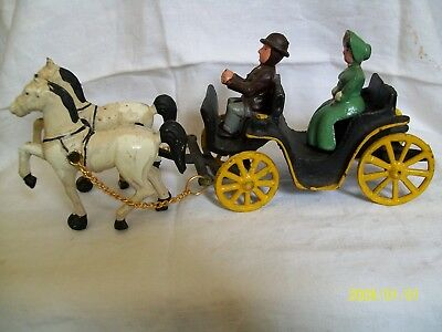 Antique/vintage Cast Iron Horse Drawn Carriage With Passenger And Driver