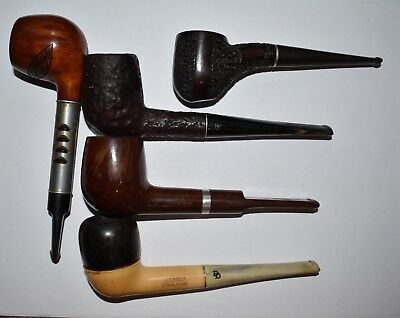 Vintage Lot of 5 Medico Smoking Pipes Double Dri, Ventilator, Crest, VFQ, Frank