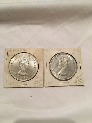 2 1 Crown Bermuda Coins 1959 And 1964