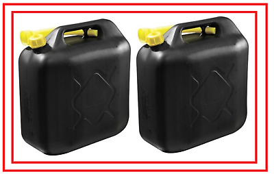 20L Black Plastic Fuel Jerry Can Petrol Diesel Water 20 Litre With Spout Brand N