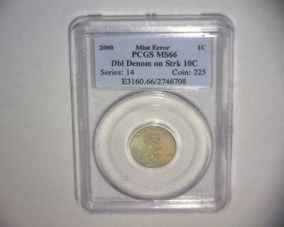 2000 Lincoln Cent On A Struck Dime Double Denomination >Pcgs Ms66< Us Error Coin