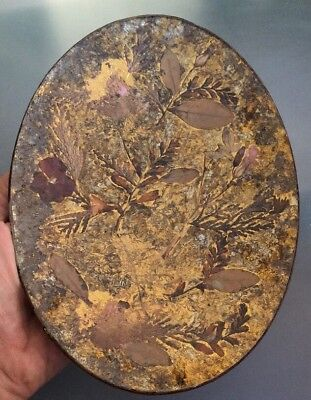 Vintage 1981 Decorative Plate Painted Dried Flowers Under Glass . Leather Signed