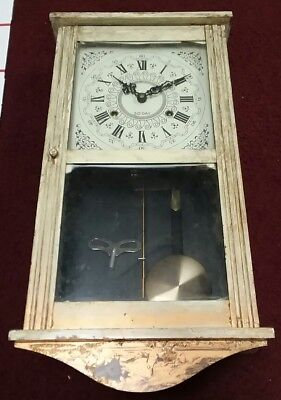 Vintage Japan Mechanical Pendulum Wall Clock 30 Day Chime parts key unbranded