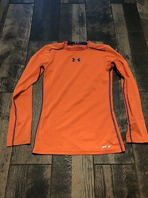 Under Armour Youth Boy's YMd Medium M Long Sleeve Shirt Orange Upf50