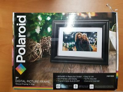 """New Polaroid Digital Picture Frame 7"""" High Resolution Screen Auto On/Off"""