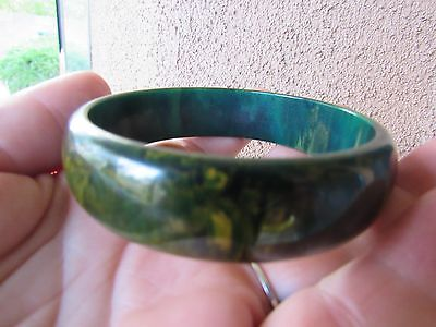 Art Deco Blue Moon with Gold Swirls BAKELITE Bangle Tested