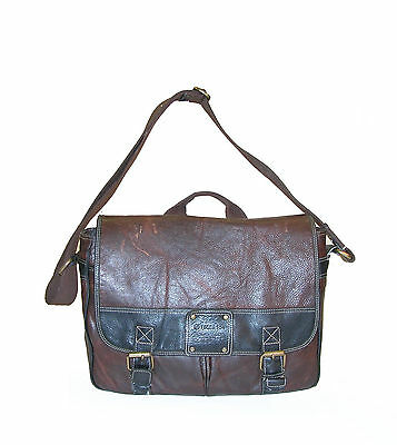 """FOSSIL 54 Italian Leather Briefcase 16"""" Messenger / Crossbody Bag ~ Retail:$300"""