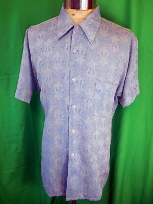 Vintage 70s St Charles Blue Patterned Poly/Cotton Short Sleeve Casual Shirt OS
