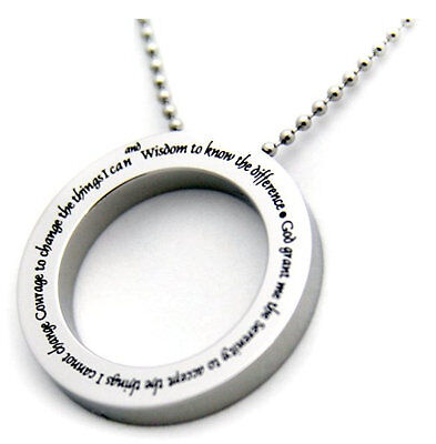 "Serenity Prayer Necklace Circle Stainless Steel Round 24"" Silver + FREE KEYCHAIN"