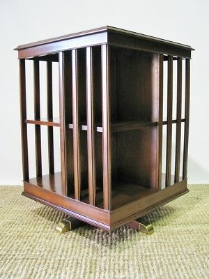 High-End Revolving Mahogany Bookcase; Banded Edge & String Inlay; Baker Quality