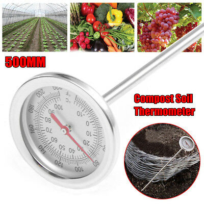 Compost Soil Thermometer Garden Plant °C / °F Temperature Measuring 500mm Probe