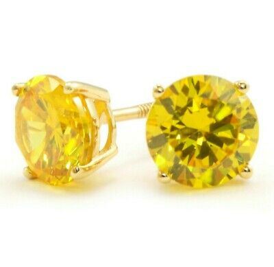 76952c768 4 Ct Round Yellow Canary Earrings Studs Solid 14K Yellow Gold Screw Back  Basket