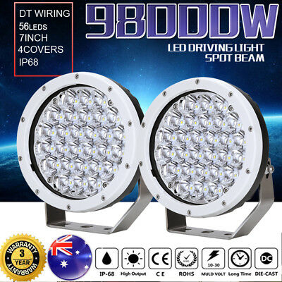 98000W 7inch Cree Led Driving Lights Spotlights Work Round Offroad Lamp HID 4WD