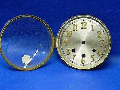 "Antique Clock Metal Dial with Brass Bezel and Glass 6-1/4"" diameter"