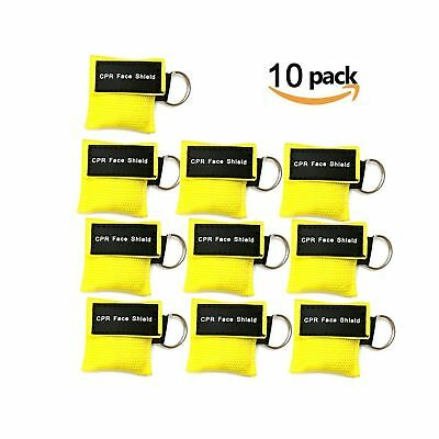 CPR Mask Keychain Ring Pack of 10pcs Emergency Kit Rescue Face Shields with O...