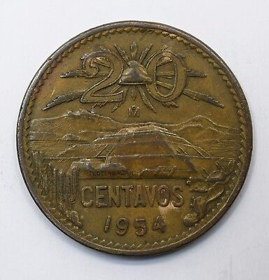 1954 Mexico Twenty 20 Centavos Type 1 National Emblem - Lot 206