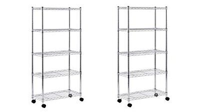 Sandusky MWS301460 Mobile Wire Shelving - 5 Tier with 2 Inch Nylon Casters,
