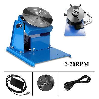 110V 2-20RPM Rotary Welding Positioner Turntable Table 3 Jaw Lathe Chuck + Pedal