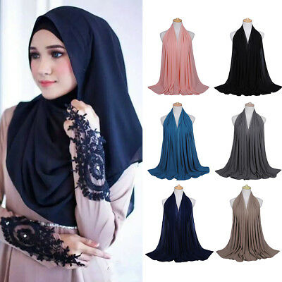 Women Chiffon Long Scarf Muslim National Hijab Arab Wrap Shawl High Quality AU P