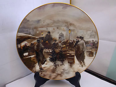 Crown Staffordshire Decorative Plate Showing A  Christmas Market  Factory 2Nd