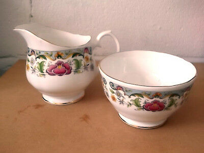 Royal Sutherland  Milk Jug And Sugar Bowl With Colourful Flowers