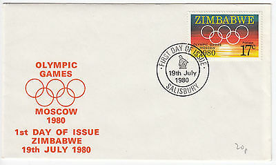 Y6066 Zimbabwe first day cover olympic games Moscow 1980