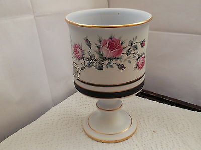 Goblet Shaped Candle Holder With A Pink Rose Pattern By Flora Keramiek Gouda