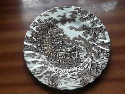 Myott Side  Plate Of Coach And Horses At A Welcome Inn  In Browns And White