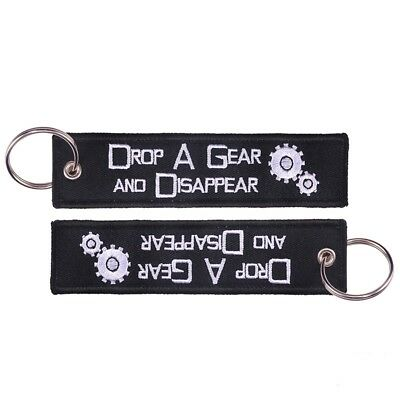 2pcs Drop a Gear and Disappear Embroidered Keychain Motorcycle Car Key Ring Tag