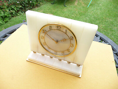 Restored Art deco. Rotherhams Alabaster mantle clock. 1930s-1940s. English