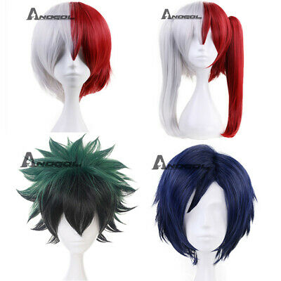 Anogol My Hero Academia Shoto Todoroki Cosplay Wig Silver Red Synthetic Hair