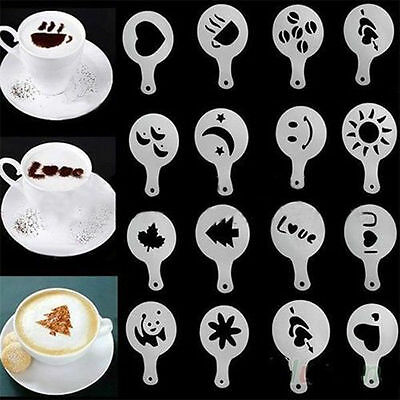 16 Patterns Latte Art Template Cappuccino Coffee Mold Duster DIY Tool Stencil
