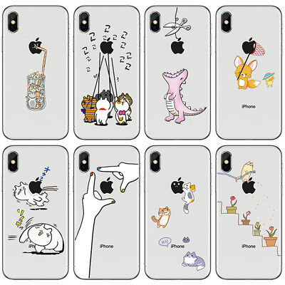 Cute Pattern Ultra Thin Soft TPU Clear Back Case Cover For iPhone X 7 8 Plus 6S