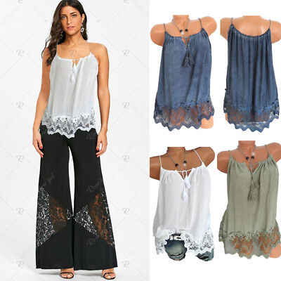 New Women's' Summer Lace Vest Top Sleeveless Blouse Casual Tank Tops T-Shirt
