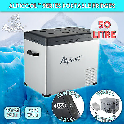 Alpicool 50L Portable Compressor Fridge Freezer Car Caravan Boat Cooler Box DC12