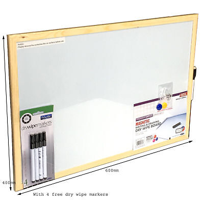 Magnetic Whiteboard + Free Dry Wipe White Board Writing Markers Office School