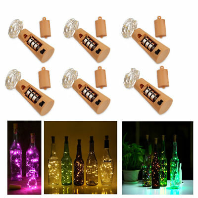 6 Pack 15/20LED Wine Bottle Cork Battery Operated Micro Fairy String Light Party
