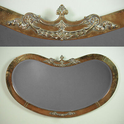 Antique Brass Arts & Crafts Kidney Shaped Wall Mirror c.1905.