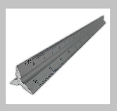 "FAITHFULL 300mm (12"") ALUMINIUM SAFETY SCALE TRIANGULAR RULE - RULER"
