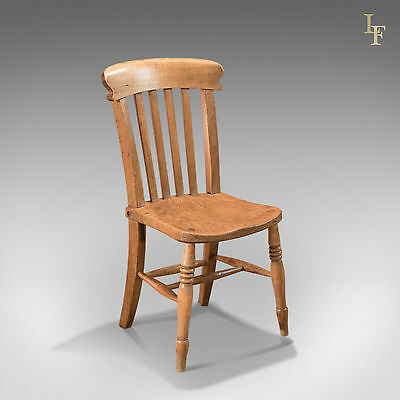 Antique Station Chair, Victorian lath back, English Elm, Country Kitchen c1850