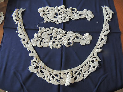 """Antique French 3 pc  lace Collar, 1900- 26""""Long,  2-9 """" pc"""