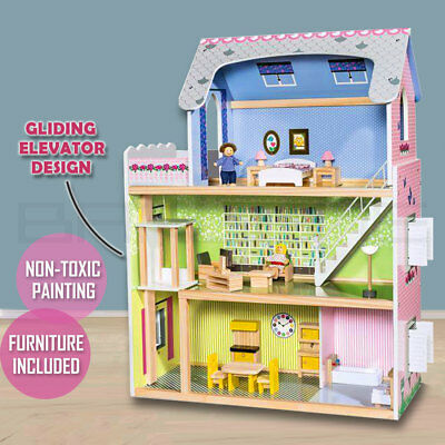 Wooden DIY Dolls Doll House 3 Level Kids Pretend Play Toys Full Furniture Set MR