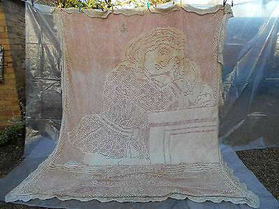 VERY FINE & RARE ANTIQUE VICTORIAN BEDSPREAD Signed & Dated 1866 - Museum Piece