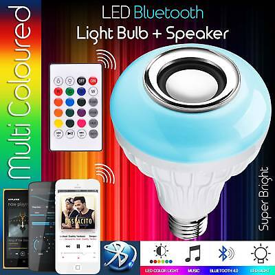LED RGB Color Bulb Light LAMP E27 Bluetooth Control Smart Music Audio Speaker