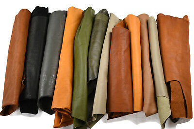 Assorted scrap leather cowhide pieces/off-cuts 2-3 Hands Full grain cow hide