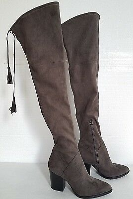 ad0e49a5f46 Marc Fisher LTD Alinda Over-the-Knee Tall Boot Size 9.5 M Gray Tassels