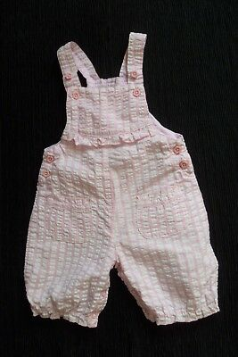 Baby clothes GIRL 6-9m cute pink/white check cotton summer dungarees SEE SHOP!