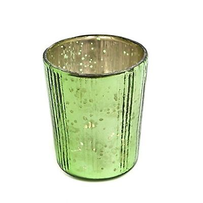 Insideretail Vertical Tea Light Holders with Distressed Foil, Green, 7 cm