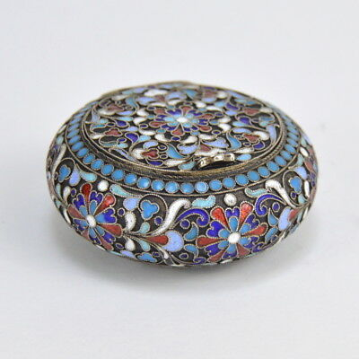 Imperial Russian cloisonné enamel and gilt silver box Moscow 19-th C