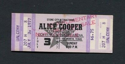 1977 Alice Cooper Unused Concert Ticket Fort Worth Texas Silver Screen